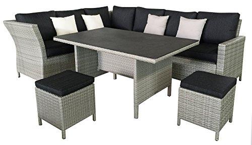 Matodi hohe Polyrattan Dining Lounge inklusive Kissen Ecklounge Gartensitzgruppe
