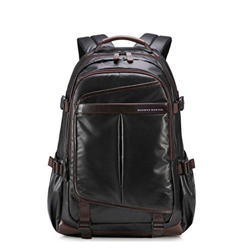 Imagen de maod hombre negocios  portátiles estilo retro  escolares cuero bolsa de escuela impermeable laptop backpack 16 negro 16