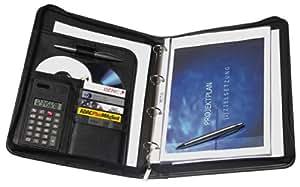 Genie 10742 Porte-documents A4 avec classeur et calculatrice intégrés, plastique résistant aspect cuir avec fermeture Éclair, bloc-notes A4 et porte-stylo Noir