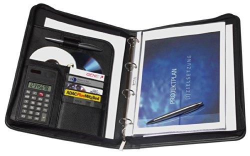 Genie Exclusiv A4 Schreibmappe mit Ringbuch, Taschenrechner, Reißverschluss, inkl. A4-Schreibblock, Lederoptik schwarz