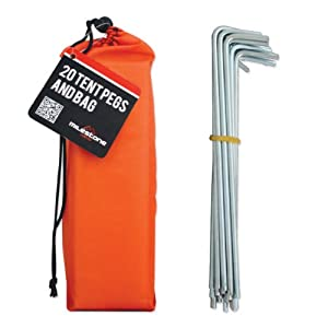 41xkp0OHRAL. SS300  - Milestone Camping Men's 20930 20 Pegs in Carry, Silver in Orange Bag, H16.5 x W2cm