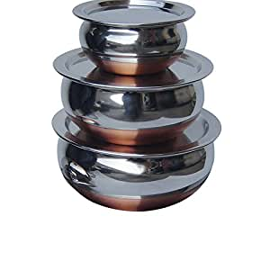 MONTSTAR Stainless Steel Handi ,Donga and Serving Bowl with Copper Bottom (With Stainless Steel Lid) set of 3Pcs (Stainless steel)