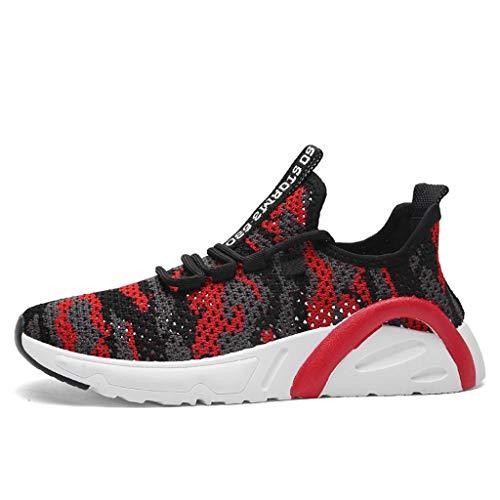 CUTUDE Herren Laufschuhe Turnschuhe Bequem Mesh Ultra-Leicht Atmungsaktive Gym Fitness Sportschuhe Sneaker Schnürer Straßenlaufschuhe Freizeitschuhe (Rot, 42 EU)