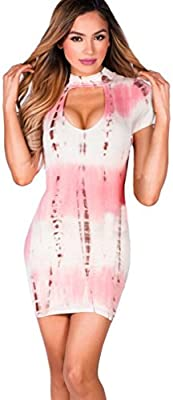 Vestidos de fiesta cortos, Culater Mujer Moda Mini vestido de manga corta