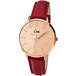 Limit Women's Quartz Watch with Gold Dial Analogue Display and Red Polyurethane Strap 6129.01