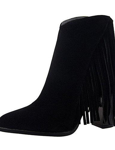 WSS 2016 Chaussures Femme-Décontracté-Noir / Marron / Rouge / Kaki / Amande-Gros Talon-Talons-Talons-Similicuir black-us5.5 / eu36 / uk3.5 / cn35