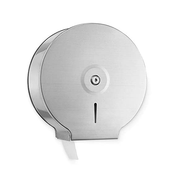 Diswa Brushed Stainless Steel - 9 inch Roll with 2.5 Core Toilet Paper Dispenser Anti-Dust Jumbo Roll