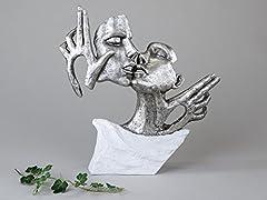 Idea Regalo - Exclusive decorativa Busto Scultura Amore coppia in ceramica bianco/argento altezza 36 cm
