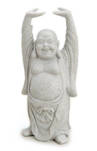 Deko Figur Happy Buddha Figur stehend in Stein Optik aus Polystein grau, 16 cm groß, Statue dicker Mönch lachend, Glücksbuddha Budai