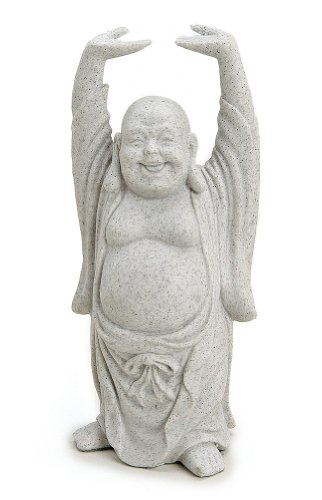 Figura decorativa Happy Buda figura de pie en piedra (polirresina gris, 16cm Grande, Estatua Dicker Mönchengladbach lachend, suerte Buda Budai