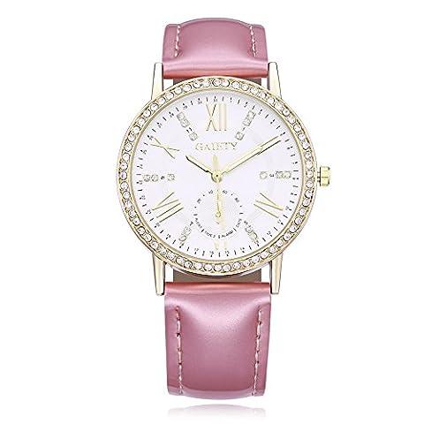 YAZILIND bijoux exquis cuir Band incrusté de strass quartz grand poignet-montre pour les femmes (rose)