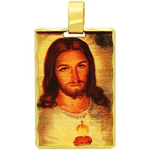 Placcato oro 14 k, motivo cuore di Gesù Mini Catholic Charm pendente - Overlay Dog Tag