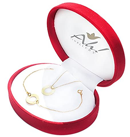 Ah! Jewellery GIFTBOXED! Celebrity Layered Double Open Style Circle Necklace And Bracelet Set. 24K Gold Over Sterling Silver. Stamped 925. Simple And Stunning Design. 10 Year Guarantee