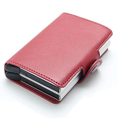 RFID Automatische Pop-Up-Doppel-Aluminium-Box Leder-Kartenpaket Anti-Diebstahl-Magnet Kreditkarte Visitenkartenetui Brieftasche, Rot -