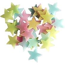 Butterme 50 Pz fluorescenza incandescenza nello scuro luminosi stelle adesivi murali Stickers stella scuola materna per il bambino scherza Soggiorno Camera da letto della decorazione della casa