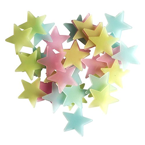 Butterme 50 Pcs Pcs Fluorescence Glow in Dark Luminous Star Wall Stickers Decals Star Nursery for Baby Kids Living Room Bedroom Home Decoration (Colourful)