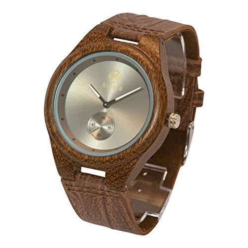 Aldeea Watch Armbanduhr aus Holz, Bambus-Uhr, Holzuhr, Holz-Armbanduhr, Echtholz, Herren Damen Unisex, Handgefertigt (George)