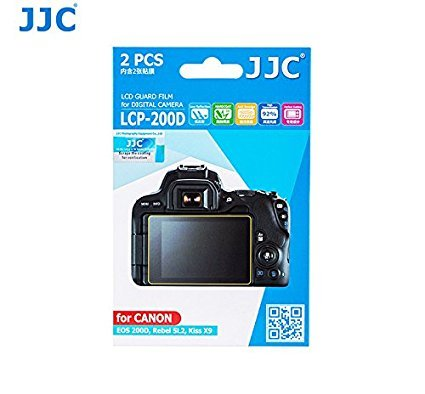 JJC LCP-200D 2Kits PET Ultra Hard Polycarbonate LCD Guard Film Display Screen Protector for CANON EOS 200D, Rebel SL2,Kiss X9 Digital Camera