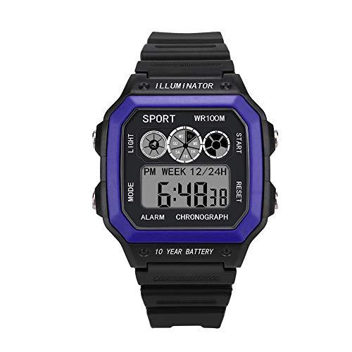 Dorical Unisex-Armbanduhr Sport Digital Uhren Wasserdicht Sport Armbanduhr mit Wecker Stoppuhr, Schwarz Armbanduhr, läuft mit LED-Hintergrundbeleuchtung Digitaluhren für Männer Ausverkauf(Blau) -
