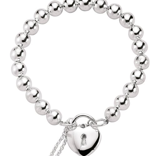 Jewelco London Rhodium Plated Sterling Silver Heart Padlock Bead Bracelet