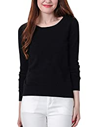 VOBAGA Womens Casual Elegant O Neck Long Sleeve Solid Color Blouse Pullover Tops Sweater