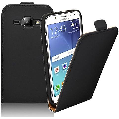 Membrane - Ultra Slim Negro Funda Carcasa para Samsung Galaxy J5 2015 (SM-J500F) - Flip Case Cover + 2 Protector de Pantalla