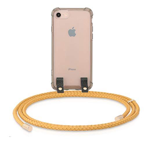 MONOCORD Leder Handykette kompatibel mit iPhone 7/8 - Premium Handyhülle Necklace Case mit geflochtenem Lederband zum Umhängen, Mustard/senf Mustard Cord
