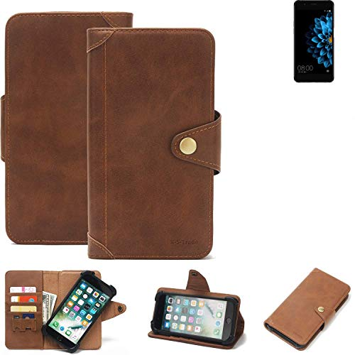 K-S-Trade® Handy Hülle Für Hisense A2 Schutzhülle Walletcase Bookstyle Tasche Handyhülle Schutz Case Handytasche Wallet Flipcase Cover PU Braun (1x)