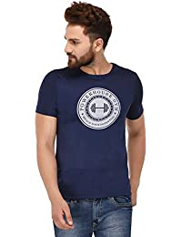 100 Tees Navy Printed Power House Gym Half Sleeve Tshirt For Men
