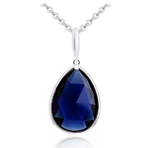 Collana a catena placcata in Placcato oro bianco 18k, con ciondolo a goccia in cristallo Swarovski, colore: blu zaffiro