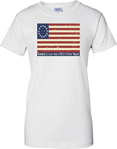 American Revolution - Stars And Stripes Flag - Ladies T Shirt - White - 14 (Confederate Flag T-shirts)