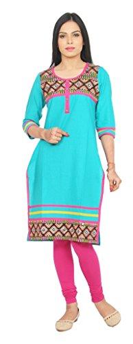 Rama Women's Cotton Embroidered Sky Blue Long Kurta