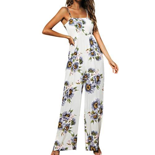 Elegante Kleider Damen Kleid Cocktailkleider Ronamick Frauen Sonnenblumen Dot Print Overall ärmellose Clubwear Wide Bein Hose vor Ort Outfit(M, Lila) - Wide Sleeve Print Kleid