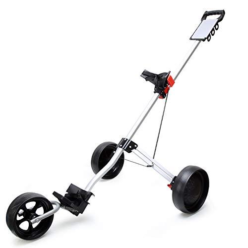 Li-shan Golfstifte mit Golftaschenhalter, 3-Rad-Push-Pull-Golfwagen, Faltbarer Push-Wagen für Golfschläger, schnell öffnende und schließende Golfwagen
