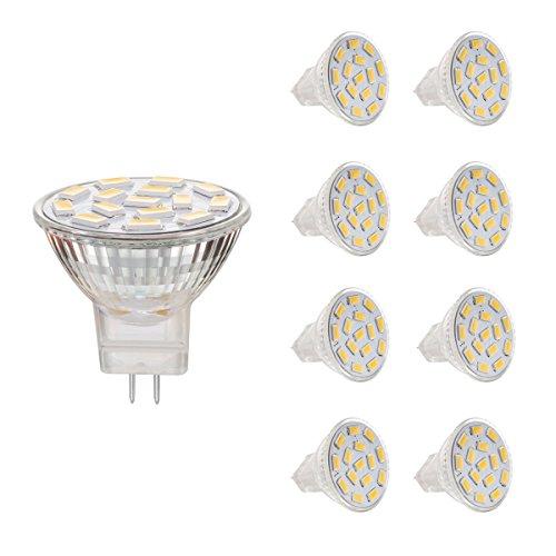 AHEVO 3.5 W MR11 GU4.0 LED-Leuchtmittel, entspricht 25-35 W Halogen-Lampen, GU4.0-AC/DC 12 V, (6000 K), 350 lm, 120°Flood Beam,Einbauleuchte, Beleuchtung, 8 Stück, weiß -