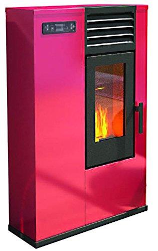 Eva stampaggi 98017-10 pellet susy slim stufa punto fuoco, 7.5 kw, rosso