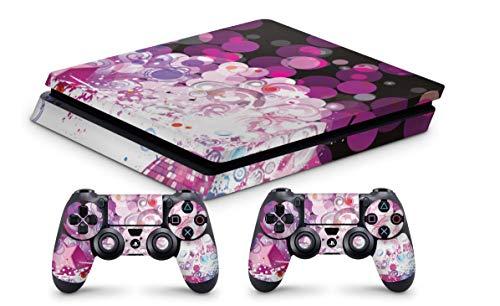 Design Aufkleber Skin Schutzfolie kompatibel mit Playstation 4 PS4 Slim + 2 Controller Skins Purple Bubbles