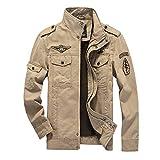 Herrenjacke Herren Military Parka Pilotenjacke Stehkragen Mantel Wintermantel Einfacher Stil Langarm Mit Zipper Jacken Outwear (Color : Khaki, Size : L)