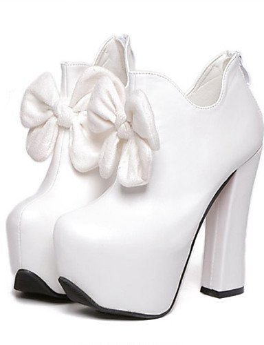 WSS 2016 Chaussures Femme-Habillé / Soirée & Evénement-Noir / Blanc-Gros Talon-Talons-Bottes-Polyuréthane black-us6.5-7 / eu37 / uk4.5-5 / cn37