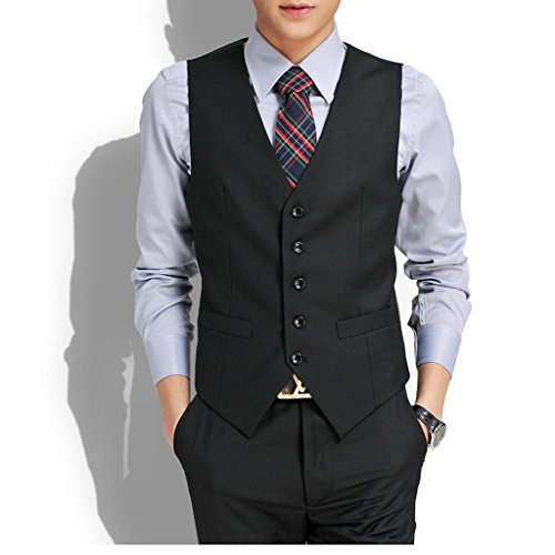 Laixing Qualität Luxury Men's Slim Fit Dress Casual Vest Formal Waistcoat Business Jacket Coat Black