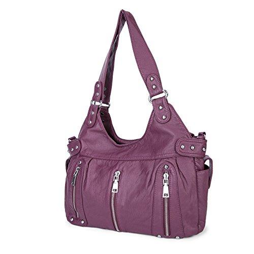 36cb069b9d003 Dame Gewaschene Leder Handtaschen Große weiche Umhängetaschen Crossbody  Schultertaschen Reisetaschen Taschen für Frauen - Schwarz Maulbeere ...