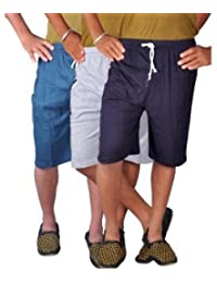 Avaatar Mens Cotton Multicolor Hosiery Shorts(pack Of 3)