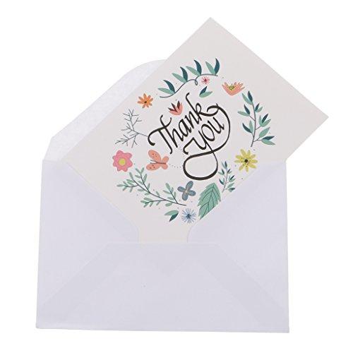 Sharplace 50pcs Dankeskarten Danke Klappkarten mit 50 Umschlägen Grußkarten Glückwunschkarten Karten für Hochzeit, Baby Taufe, Geburt, Geburtstag, Jubiläum