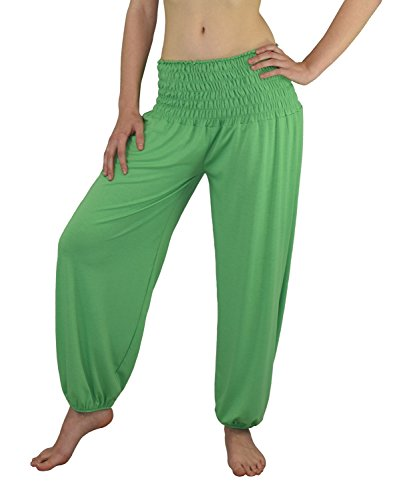 S&LU tolle Damen Haremshose, Pluderhose in 4 Größen - !NEU! Jetzt auch im Camouflage-/Tarn-Design !NEU! - von XXS bis XXXXXXL (6XL) wählbar (Einheitsgröße S-XXL, Grün) (Hosen Hose Grüne)