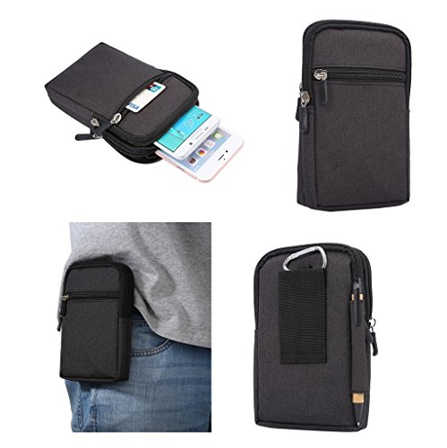DFV mobile - Universal Multi-functional Vertical Stripes Pouch Bag Case Zipper Closing Carabiner for => CATERPILLAR Cat B30 > Black (17 x 10.5 cm)