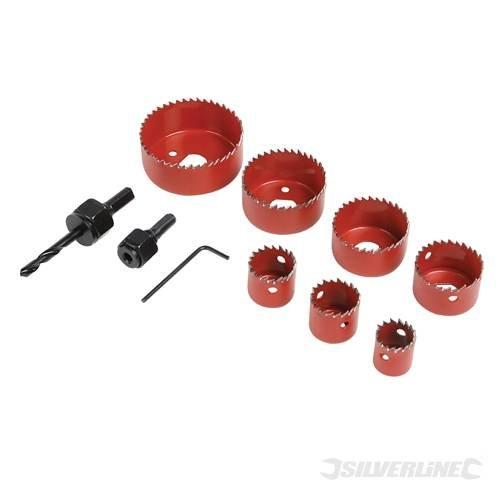 Power Tool Accessories Lochsägen LochsäGen-Set, 10 Stück, 21 mm, 64 mm, umfasst die folgenden beliebten Größen: 21 mm, 25 mm, 29, 38, 44, 51 und 64 mm, Zentrierbohrer, Lochsägen und Schaft Innensechskant-Schraubendreher.