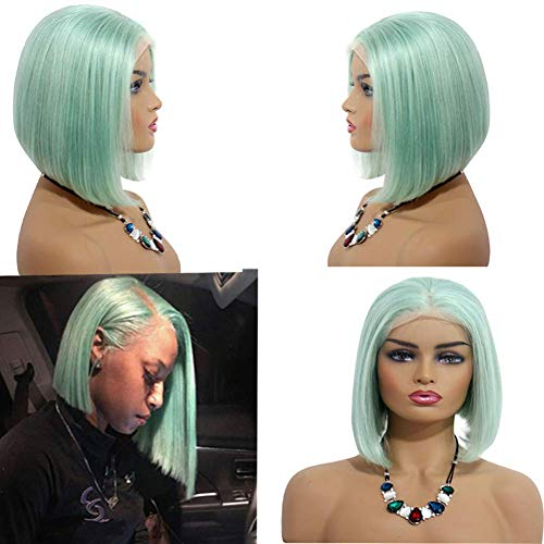 Lace Front Wigs Mint Green 180% Density 8inches Virgin Human Hair Wigs Glueless Middle Part Silky Straight Hair Wigs 13X4 Frontal Pre Plucked Natural Hairline Short Lace Bob Wigs for Women -