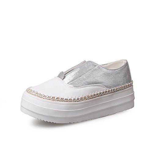 Odomolor Damen Rund Zehe Niedriger Absatz Gemischte Farbe Ziehen auf Pumps Schuhe, Silber, 42