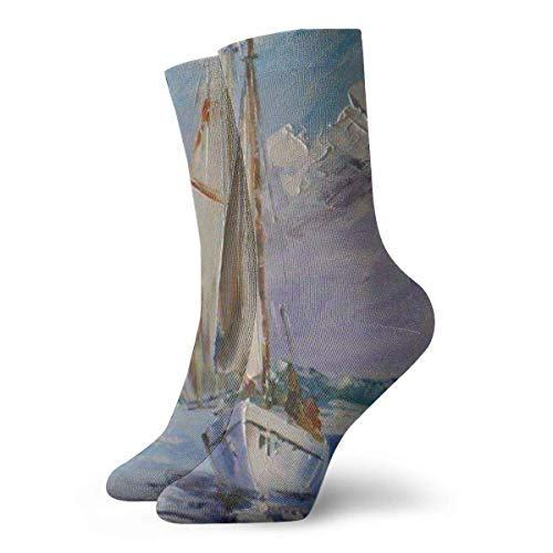 ouyjian Unisex Adult Novelty Funny Crazy Crew Sock Boat in The Ocean Oil Painting 3D Printed Winter Thick Sport Athletic Socks Personalized Gift Socks (Billig Adult Dress Fancy)