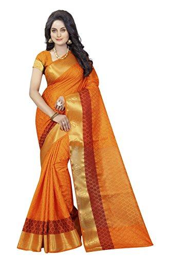 Maahik Women Silk Saree With Blouse Piece (Mksw1095_Orange)